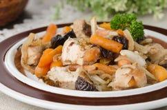 De hutspot van de kip met wortelen en gedroogde pruimen op een plaat, uitgezochte close-up, Stock Afbeelding