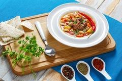De hutspot van het rundvleesvlees met groenten, aardappel, Rode Wijn royalty-vrije stock fotografie