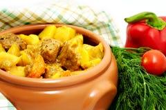 De hutspot van het vlees met aardappel Stock Foto
