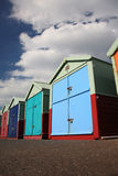 De hutten van het strand bij Gehesen, Brighton stock fotografie