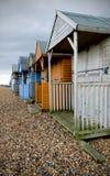 De Hutten van het strand in de Winter Stock Afbeeldingen