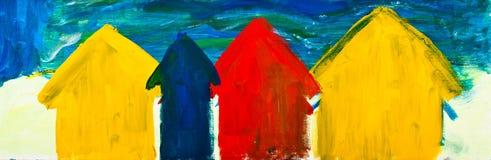 De hutten van het strand het schilderen Royalty-vrije Stock Afbeeldingen