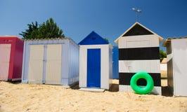 De hutten van het strand op eiland Oleron in Frankrijk Stock Afbeelding