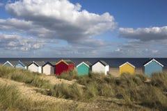 De Hutten van het strand, Southwold, Suffolk, Engeland Stock Foto