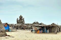 De hutten van vissersmensen in Dhanushkodi Royalty-vrije Stock Afbeeldingen
