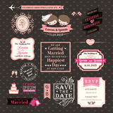 De huwelijkselementen etiketteert en kaders Uitstekende Stijl royalty-vrije illustratie