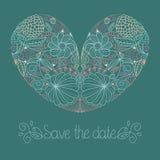 De huwelijkskaart in vector met bloemenhart en de tekst bewaren de datum vector illustratie