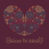 De huwelijkskaart in vector met bloemenhart en de tekst bewaren de datum stock illustratie
