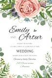 De huwelijksuitnodiging, nodigt sparen de datum bloemenkaart vectordesi uit stock illustratie