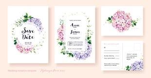 De huwelijksuitnodiging, sparen de datum, dankt u, rsvp het malplaatje van het kaartontwerp Vector hydrangea hortensiabloemen, Kl stock illustratie