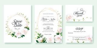 De huwelijksuitnodiging, sparen de datum, dankt u, rsvp het malplaatje van het kaartontwerp Vector Wit nam bloem, citroenblad, Kl royalty-vrije stock afbeelding
