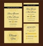 De huwelijksuitnodiging, sparen de datum, RSVP-kaart, dankt u Royalty-vrije Stock Fotografie