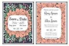 De huwelijksuitnodiging, sparen de datum, RSVP-kaart, dankt u Royalty-vrije Stock Afbeelding