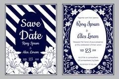 De huwelijksuitnodiging, sparen de datum, RSVP-kaart, dankt u Royalty-vrije Stock Foto's