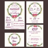 De huwelijksuitnodiging, sparen de datum, RSVP-kaart, dankt u Stock Foto