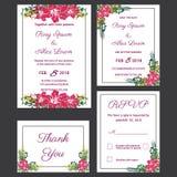 De huwelijksuitnodiging, sparen de datum, RSVP-kaart, dankt u Royalty-vrije Stock Afbeeldingen