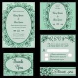 De huwelijksuitnodiging, sparen de datum, RSVP-kaart, dankt u Stock Foto's