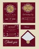 De huwelijksuitnodiging, sparen de datum, RSVP-kaart, dankt u kaardt, G Stock Afbeelding