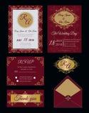 De huwelijksuitnodiging, sparen de datum, RSVP-kaart, dankt u kaardt, G Stock Foto's