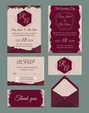 De huwelijksuitnodiging, sparen de datum, RSVP-kaart, dankt u kaardt, Gi Royalty-vrije Stock Afbeelding