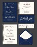 De huwelijksuitnodiging, sparen de datum, RSVP-kaart, dankt u kaardt, Gi Royalty-vrije Stock Afbeeldingen