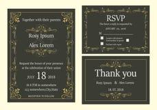 De huwelijksuitnodiging, sparen de datum, RSVP-kaart, dankt u kaardt, T Stock Foto