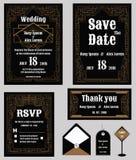 De huwelijksuitnodiging, sparen de datum, RSVP-kaart, dankt u kaardt, T Stock Foto's