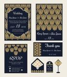 De huwelijksuitnodiging, sparen de datum, RSVP-kaart, dankt u kaardt, T Stock Afbeeldingen