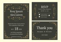 De huwelijksuitnodiging, sparen de datum, RSVP-kaart, dankt u kaardt, T Royalty-vrije Stock Afbeelding