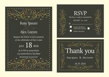 De huwelijksuitnodiging, sparen de datum, RSVP-kaart, dankt u kaardt, T Royalty-vrije Stock Afbeeldingen