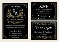 De huwelijksuitnodiging, sparen de datum, RSVP-kaart, dankt u kaardt, T Royalty-vrije Stock Fotografie