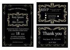 De huwelijksuitnodiging, sparen de datum, RSVP-kaart, dankt u kaardt, T Stock Afbeelding