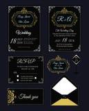 De huwelijksuitnodiging, sparen de datum, RSVP-kaart, dankt u kaardt, T Royalty-vrije Stock Foto's