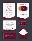 De huwelijksuitnodiging, sparen de datum, RSVP-kaart, dankt u kaardt, T Royalty-vrije Stock Foto