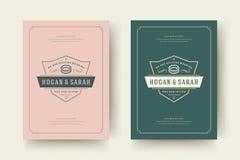 De huwelijksuitnodigingen bewaren de datumkaarten ontwerpen vectorillustratie royalty-vrije stock foto's