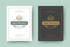De huwelijksuitnodigingen bewaren de datumkaarten ontwerpen vectorillustratie stock afbeelding