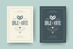 De huwelijksuitnodigingen bewaren de datumkaarten ontwerpen vectorillustratie stock fotografie