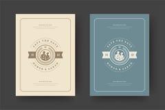 De huwelijksuitnodigingen bewaren de datumkaarten ontwerpen vectorillustratie stock foto