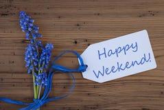 De Hyacint van de Srpingsdruif, Etiket, Gelukkig Weekend Royalty-vrije Stock Fotografie
