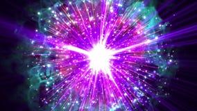 De hypersupernova of bigbang vernietigt met bliksem, donderbout, het effect van de drukgolfexplosie deeltjespatroon in terug geïs vector illustratie
