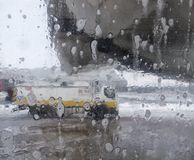 De-icer for airplanes, De-icing an aircraft wing. The machine washes the airplane with de-icer Stock Image