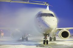 De-icing. Of the airplane, Vaclav Havel Airport Prague royalty free stock images