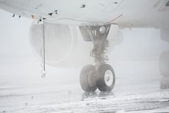 De-icing. Of the airplane, Prague stock photos