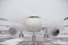 De-icing. Ground crew of provides de-icing. They are spraying the aircraft, which prevents the occurrence of frost. Prague, Czech Republic stock images