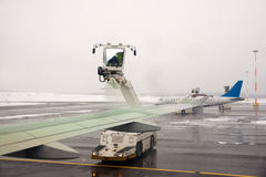 De-icing of aircraft Royalty Free Stock Photo