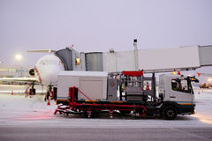 De-icing machine at the airport. Moscow, Russia, February, 09,2015: image of a de-icing machine at the airport Royalty Free Stock Photo