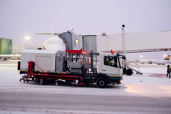 De-icing machine at the airport. Moscow, Russia, February, 09,2015: image of a de-icing machine at the airport Stock Photo
