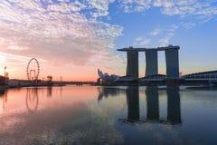 De iconische gebouwen van Singapore in Marina Bay Royalty-vrije Stock Afbeeldingen