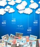 De ideale achtergrond van de Wolkentechnologie met Vlakke stijl Stock Afbeeldingen