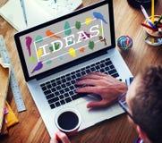 De ideeën leiden tot het Creatieve Concept van Creativiteitgedachten Stock Foto's